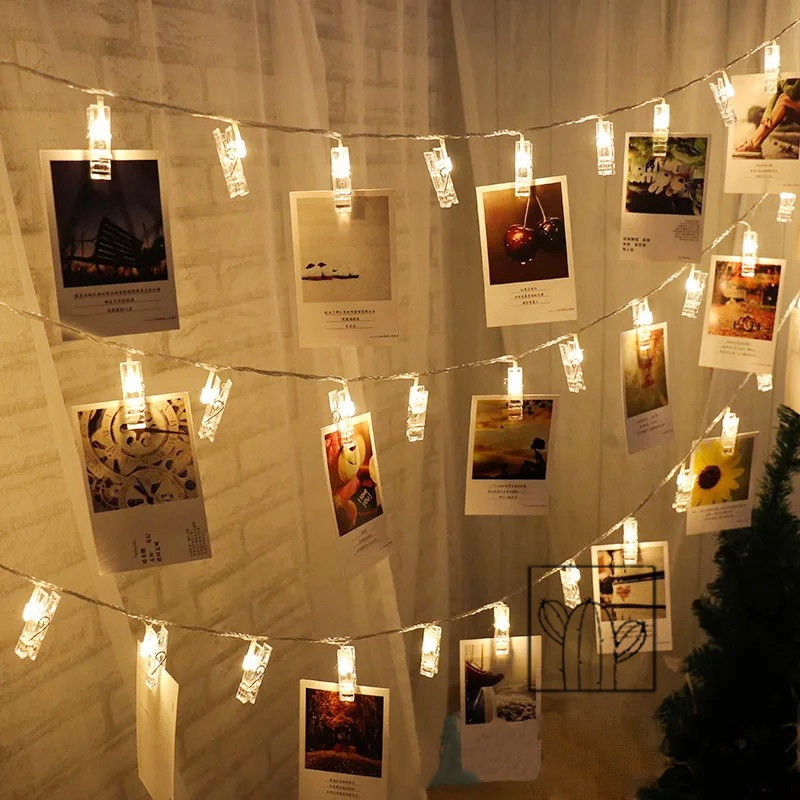 1M Photo Clip Holder LED String lights For Christmas New Year Party Wedding Home Decoration Fairy Garland Battery Operated
