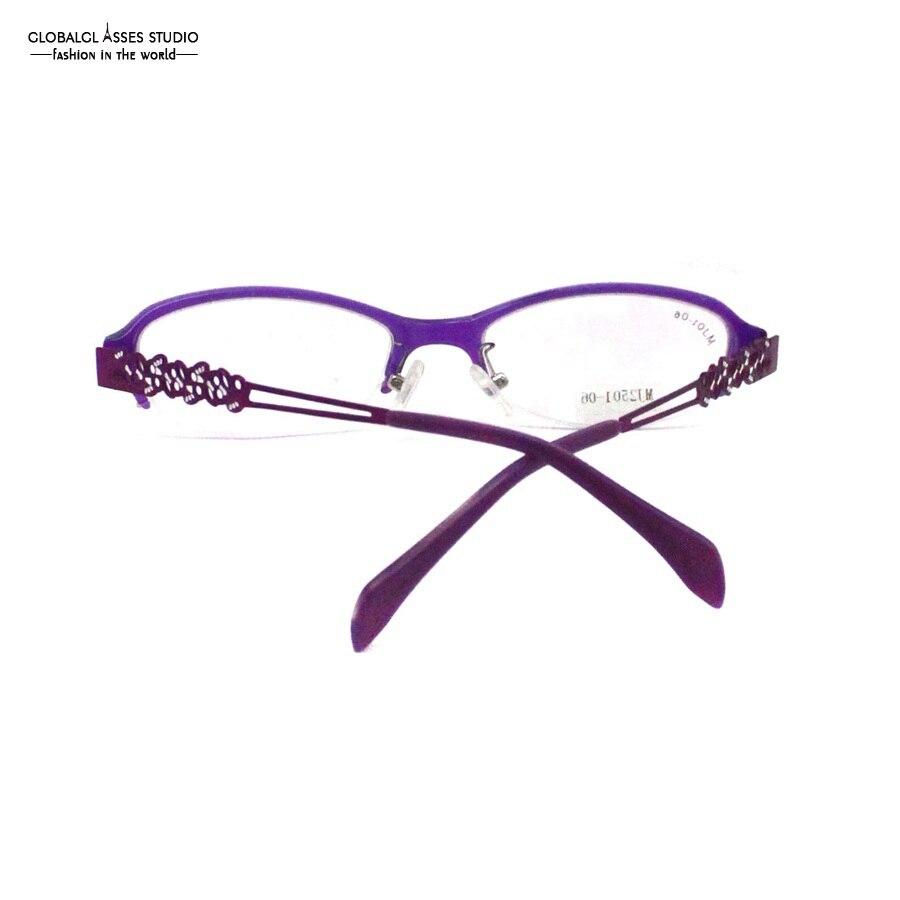 74c6bb0480 Flexible Light Oval Lens Half Rim Glasses Frame Women Shiny Purple Color  Hollow Metal Temple Office Lady Optical Frame MJ2501 06-in Eyewear Frames  from ...
