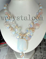 Moonstone Pink Pearls Natural Stone Necklace Women Design Handmade