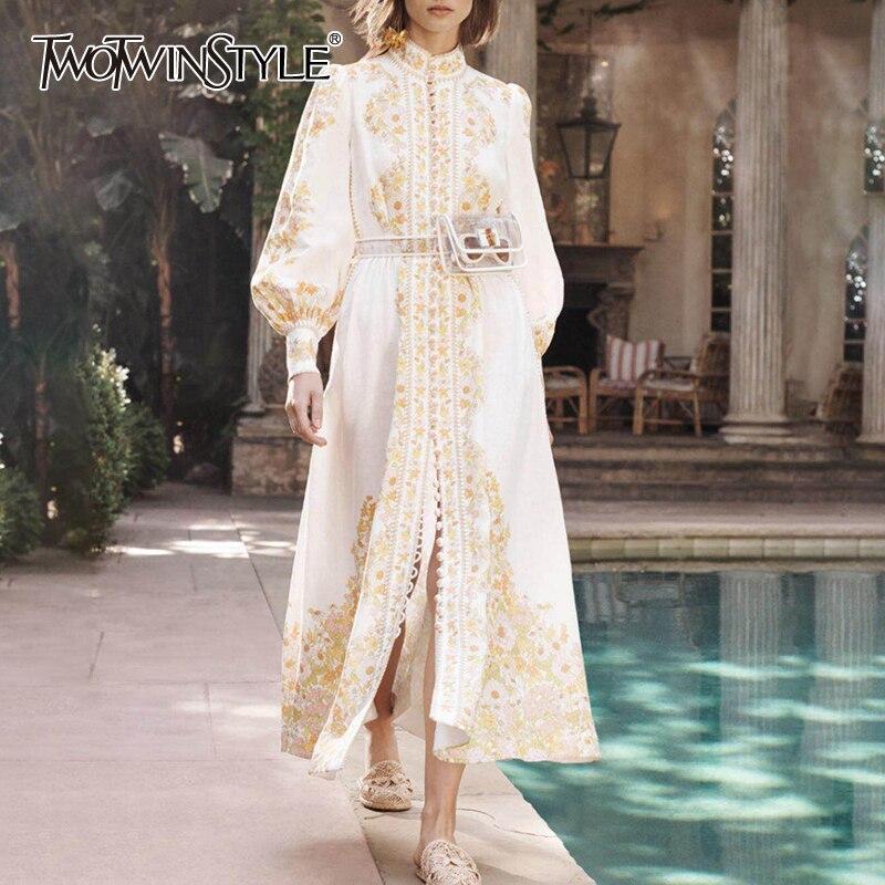 TWOTWINSTYLE lato druku sukienka dla kobiet stanąć kołnierz latarnia rękaw wysoka talia Midi eleganckie sukienki kobiet 2019 moda w Suknie od Odzież damska na  Grupa 1