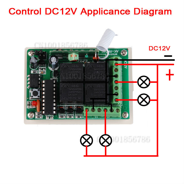 DC 12V 10A 4CH Learning Code RF Wireless Remote Control Light Switch