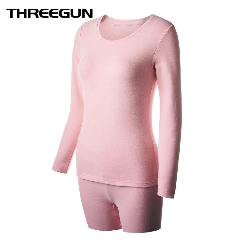THREEGUN Winter Thermal Underwear Sets Female Body Shaped Slim Ladies Long Johns Female Pajamas Warm Women Winter Thermo Clothes