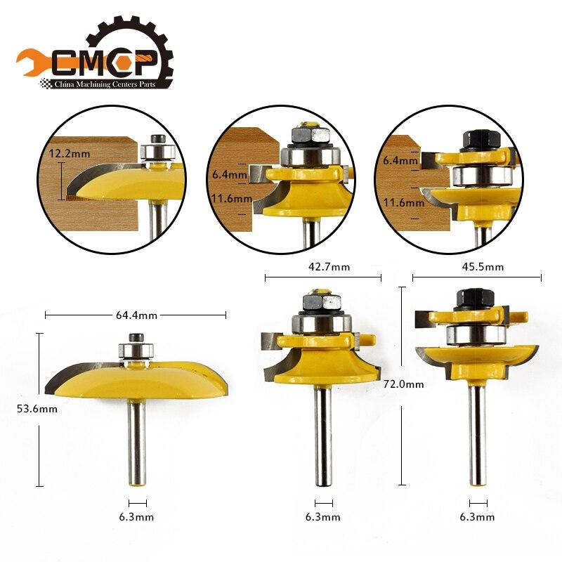 цена на free shipping ! 3pcs Router Bit Set for wood - 1/4 Shank carbide milling cutter marceneiro