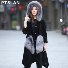 Ptslan 2017 New Fshion Sheep Fur Coat Women Wool Coat Fox Fur Collar