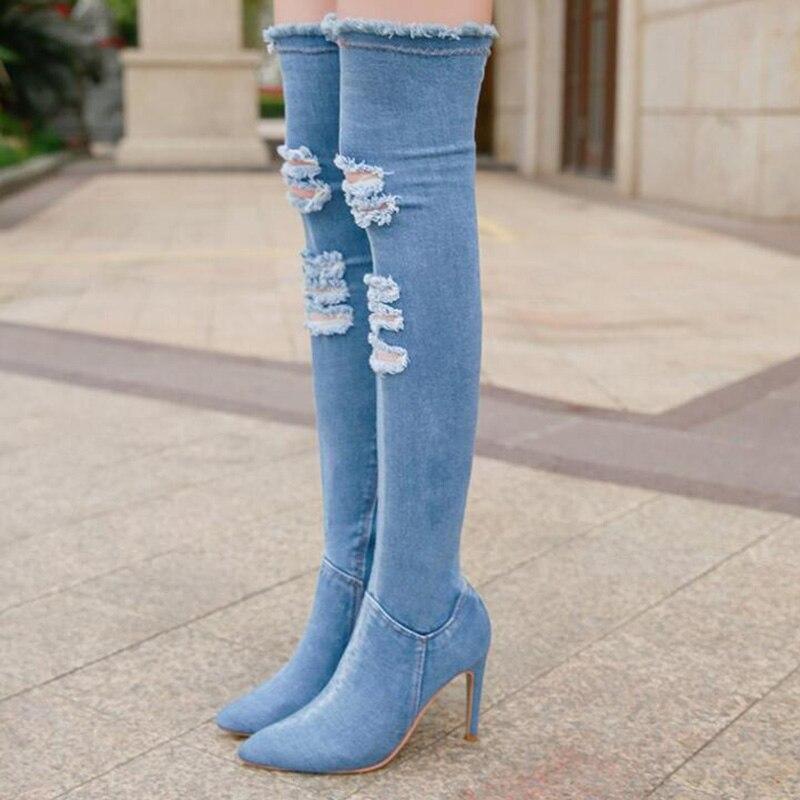 b551c763 Mezclilla Botas De Azul Con Puntiagudas azul Tacón Talla 42 Mujer Rodilla  Sobre Alto Ajustadas Para ...