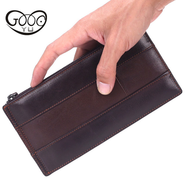 48812b341064 YU New leather wallet men long Double zipper design men wallets multi-card