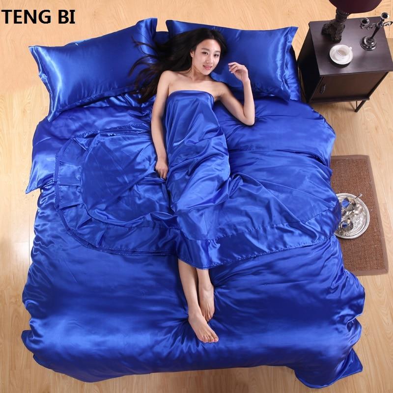¡CALIENTE! Juego de sábanas de seda satinada 100% pura, Textiles - Textiles para el hogar