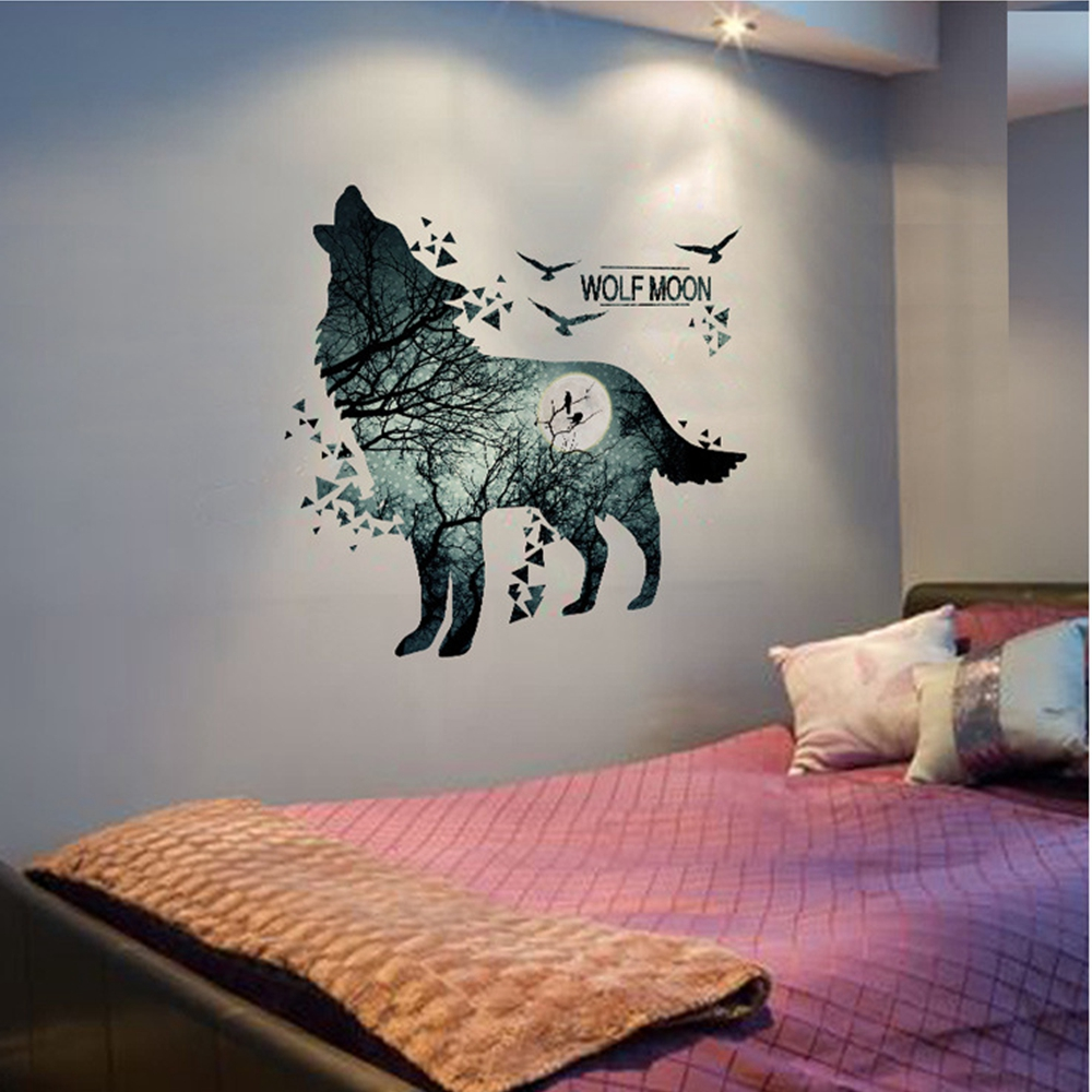 Online shop wolf moon wall stickers pvc material diy forest tree online shop wolf moon wall stickers pvc material diy forest tree branch birds wall poster for kids rooms decoration mural art aliexpress mobile amipublicfo Choice Image