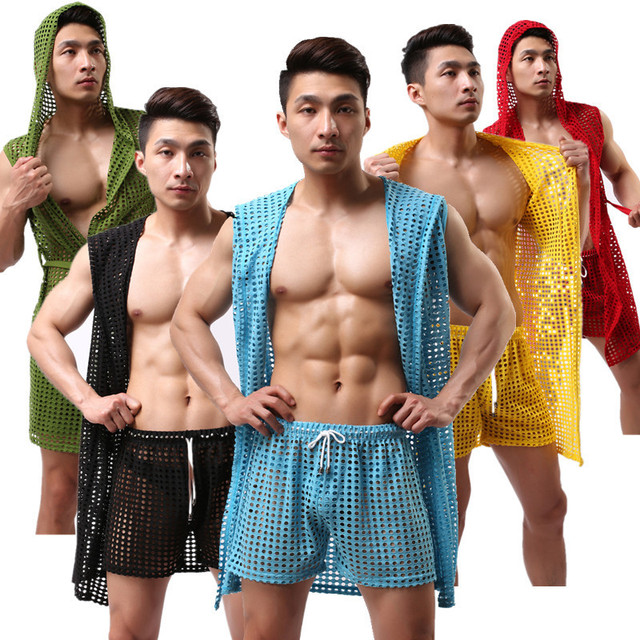 Men's Sleepwear Leisure Household Nets Sexy Sleeveless Gown Sleep Tops(not Include Shorts)