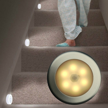 HUSUYUHU 6 LED Body Motion Sensor Wall Light Induction Lamp Activated Magnetic Stairs Closet Cabinet Mini Night Light Battery motion sensor light smart human body induction nightlight mini led night light battery powered closet cabinet toilet lamps light