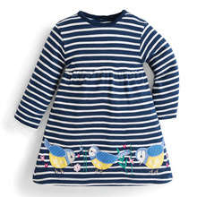 littlemandy Birds Stripe Autumn Princess Dress Pattern Brand New Kids Dresses Baby Girls Clothes Long Sleeve Children Costume