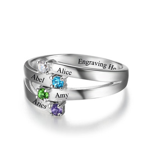Image 4 - 925 סטרלינג כסף ידידות ומשפחה טבעת לחרוט 4 שמות DIY אישית אבן המזל מתנה עבור אמהות (JewelOra RI102510)