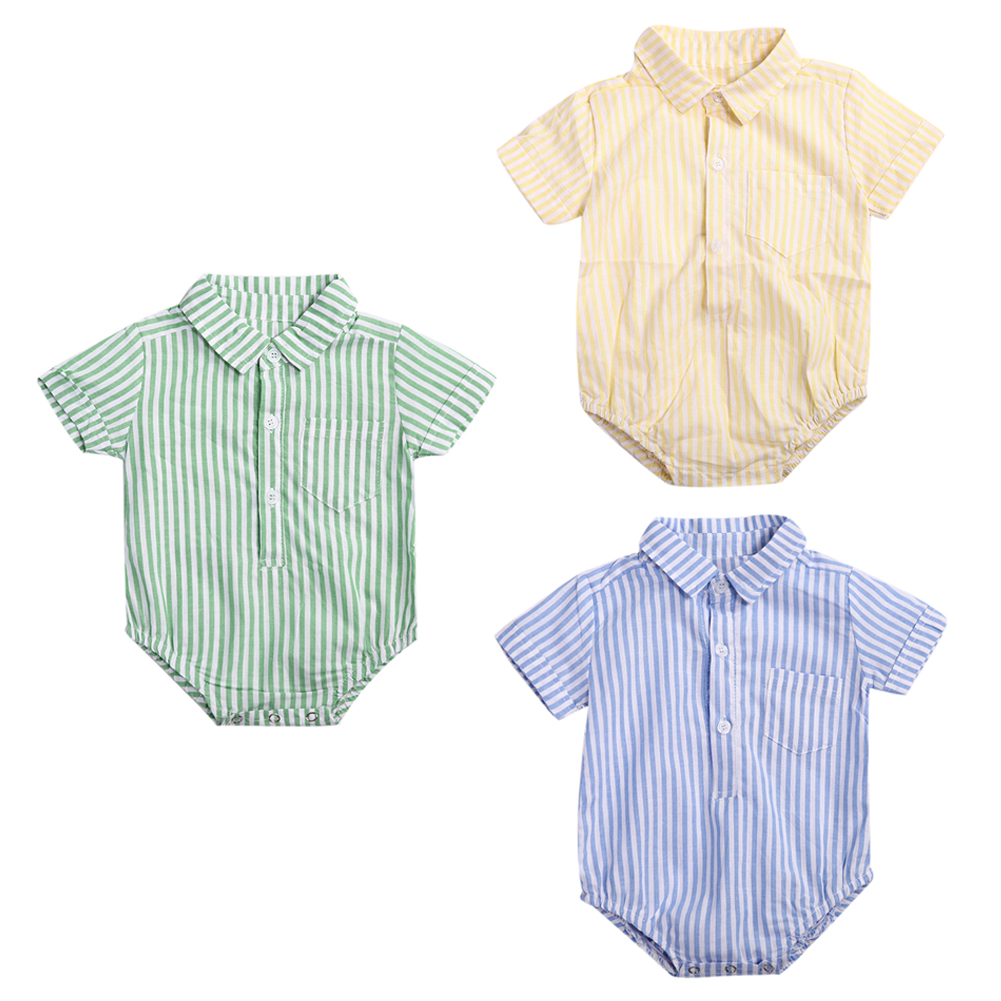 New Casual Baby Jumpsuit Gentleman Style Infant Boy Cotton Leisure Shirt Rompers Short Sleeve Stripe Jumpsuit  Clothes For Baby