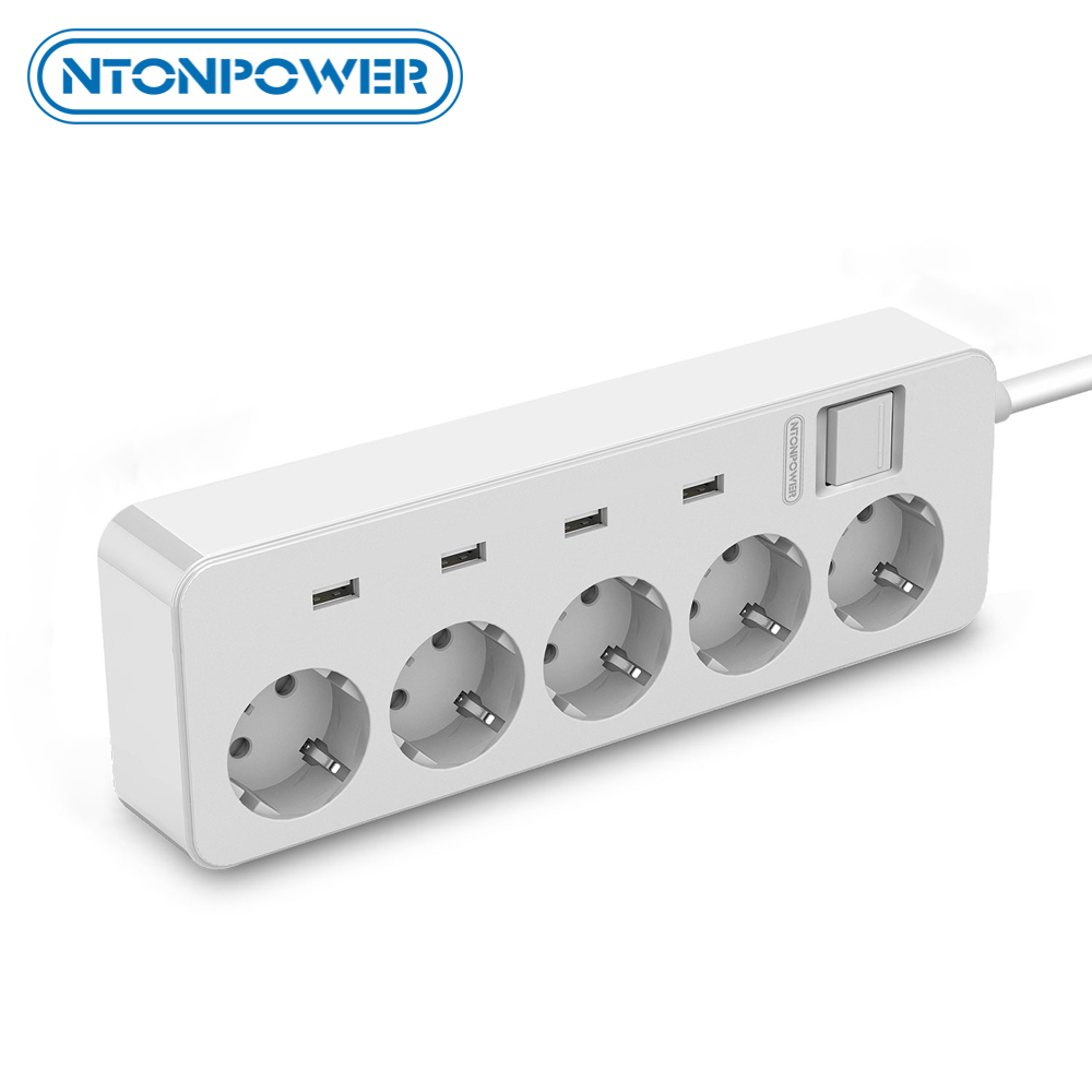 NTONPOWER Surge Protector EU Plug Extension Socket 5 Ports 4 USB Power Strip for Home Office Smart Charger for Phone Tablets in Extension Socket from Consumer Electronics