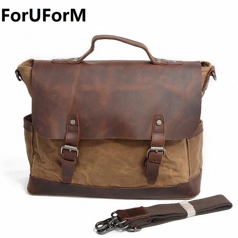 ForUForM Retro Men Briefcase Business Shoulder Bag Waterproof Canvas Messenger Bag Man Handbag Tote Casual Travel Bag LI-1929 vintage crossbody bag dark khaki canvas shoulder bags men messenger bag man casual handbag tote business briefcase for computer