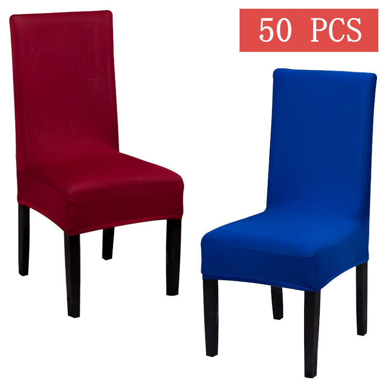 50pcs poly stretch dining chair cover for home hotel wedding solid universal spandex chair covers white black red blue decor - Blue And White Dining Chairs