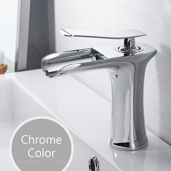Basin Faucets Waterfall Bathroom Faucet Single handle Basin Mixer Tap Bath Antique Faucet Brass Sink Water Crane Silver 6009 8