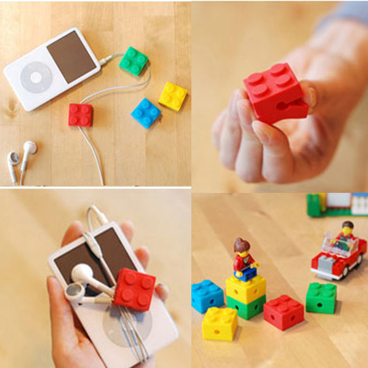 20pcs/lot Earphone Cable Winder Box building blocks Tidy Headphone Line Holder Headset Earbud Wire Organizer Cable Cord Wrap