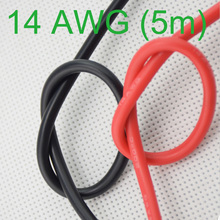 14AWG Калибр силиконовый провод гибкий многожильный медные кабели 5 м для RC черный красный