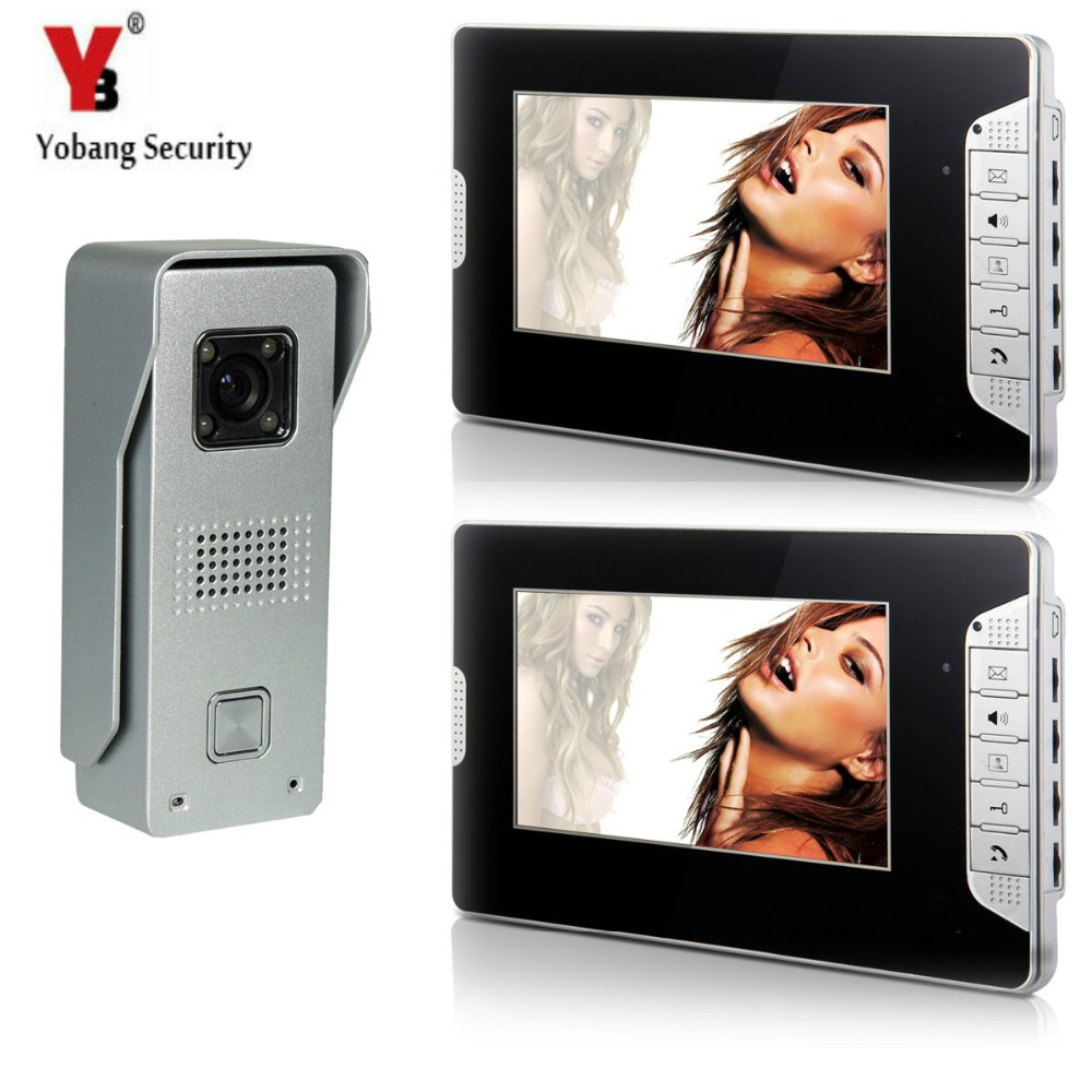 YobangSecurity 7Inch TFT Color Video Door Phone Intercom Doorbell 1-camera 2-monitor IR Night Vision Video Entry Interom System 7 inch color tft lcd wired video door phone home doorbell intercom camera system with 1 camera 1 monitor support night vision