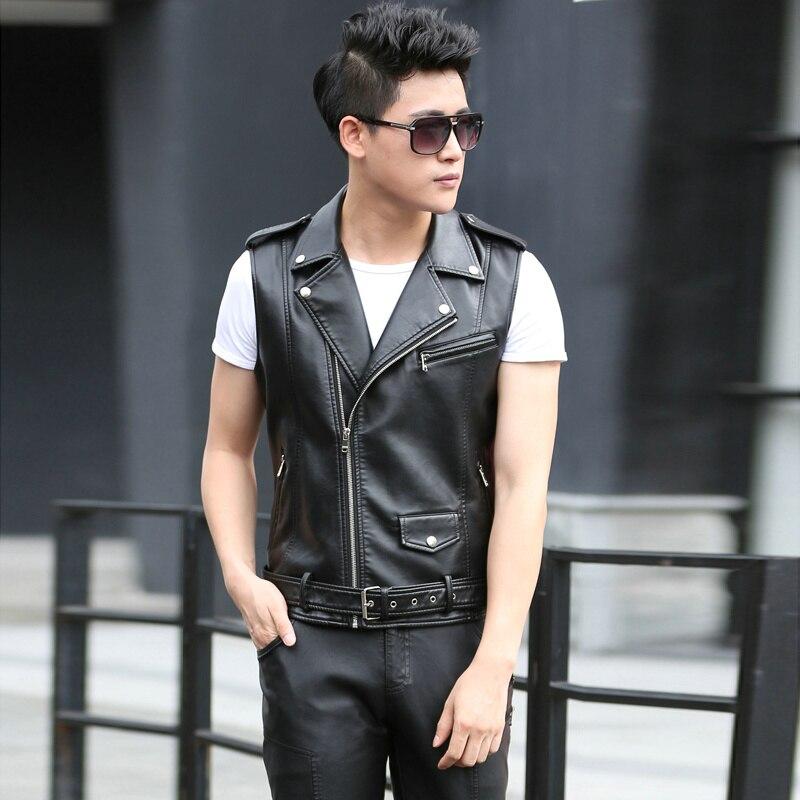905fbc1599374 Модные Для мужчин кожаные байкерские жилет с плеча погоны Для мужчин  Искусственная кожа жилет без рукавов