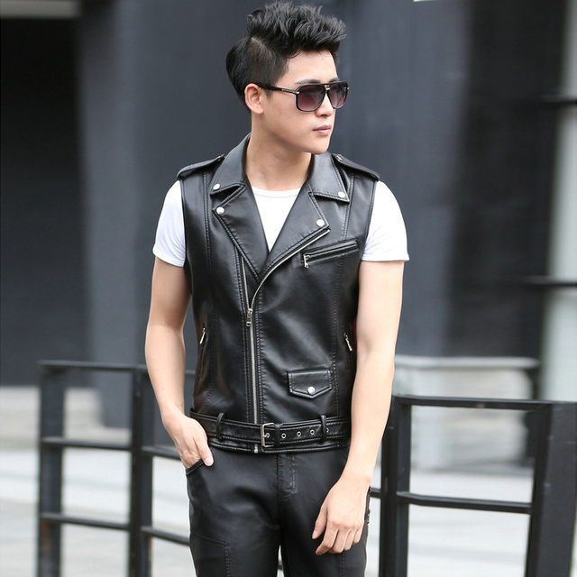 Fashion Men's Leather Biker Vest With shoulder Epaulets Men Faux Leather Waistcoat Sleeveless Jacket Coat Outerwears KL8852