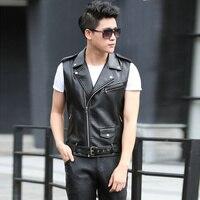 Fashion Men S Leather Biker Vest With Shoulder Epaulets Men Faux Leather Waistcoat Sleeveless Jacket Coat