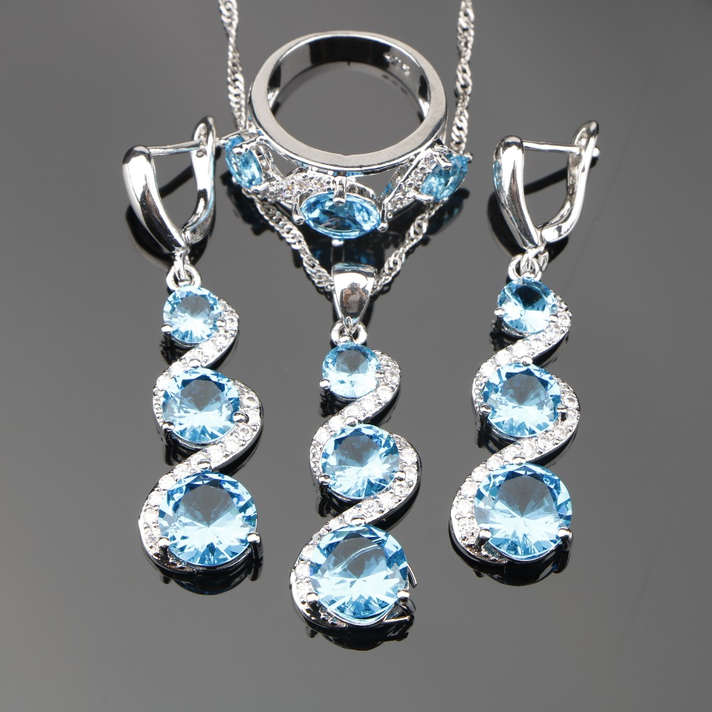 Bridal Light Blue Zircon Silver 925 Costume Jewelry Sets Women Pendant Necklace Rings Earrings With Stones Set Jewelery Gift Box