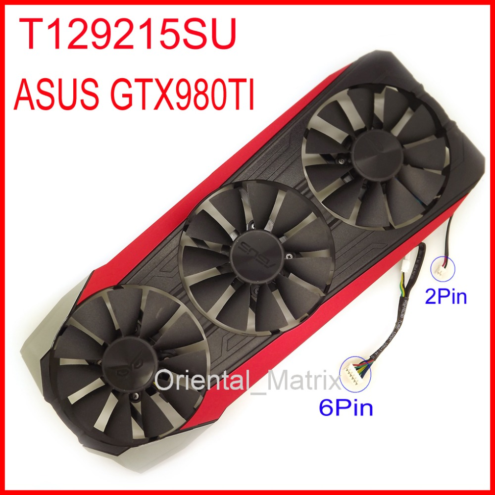 EVERFLOW T129215SU 12V 0.5A 6Pin Fan With Housing For ASUS GTX980TI Graphics Card Cooler Cooling Fan