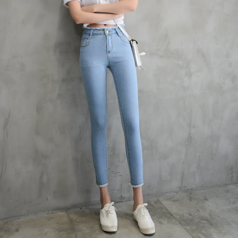 2017 Spring Summer New Fashion Sexy Slim Fit Jeans Sexy Blue Women Pencil Pants Skinny Trousers For Lady Jeans Femme Plus Size 2017 new jeans women spring pants high waist thin slim elastic waist pencil pants fashion denim trousers 3 color plus size