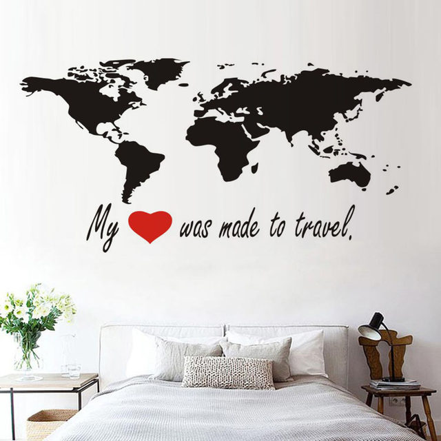 Online shop dctop my heart was made to travel world map wall dctop my heart was made to travel world map wall stickers bedroom removable vinyl wall decals sticker home decor gumiabroncs Gallery