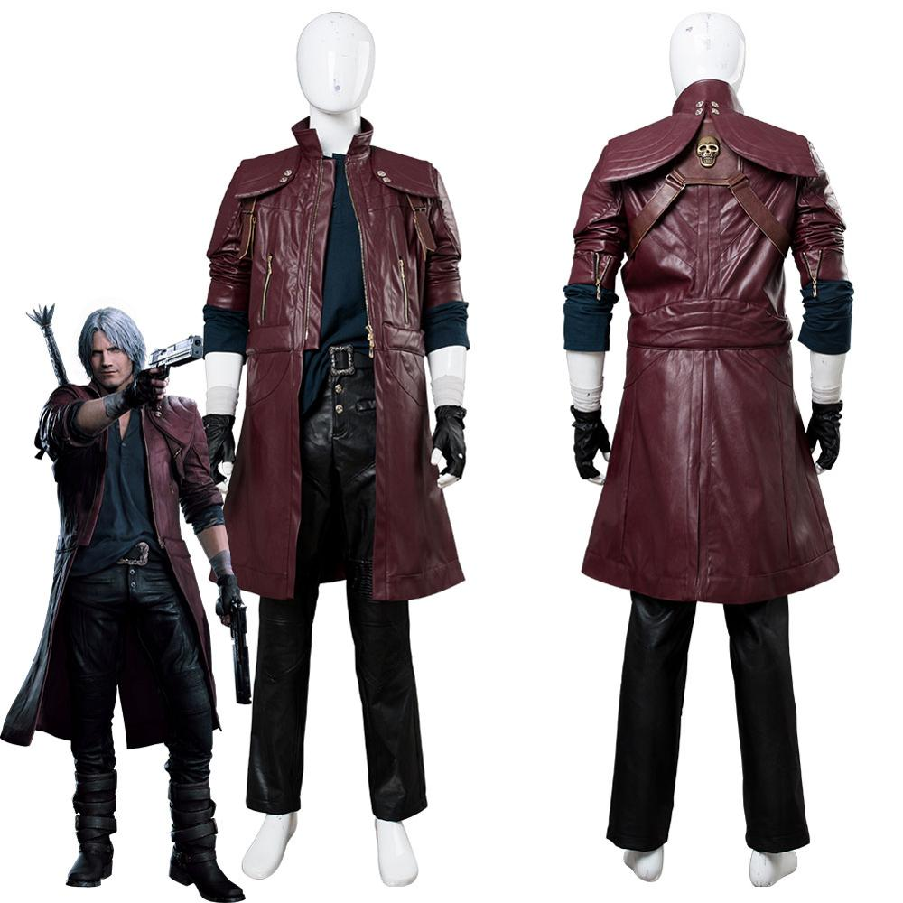DMC 5 Dante Cosplay Costume Aged Outfit Leather Coat Halloween Carnival Costumes For Adult Men Custom Made