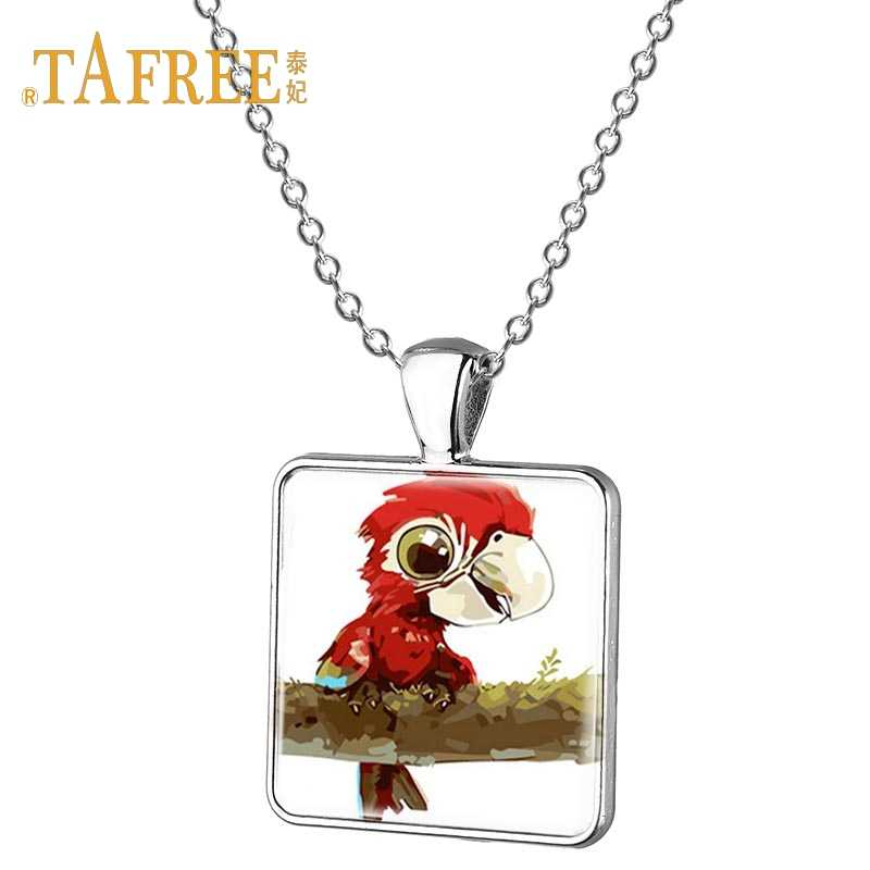 Detail Feedback Questions about TAFREE Lively animal parrot necklace  cartoon vintage hand painted art pattern glass gem pendant pendant necklace  jewelry ... 6975a4658898