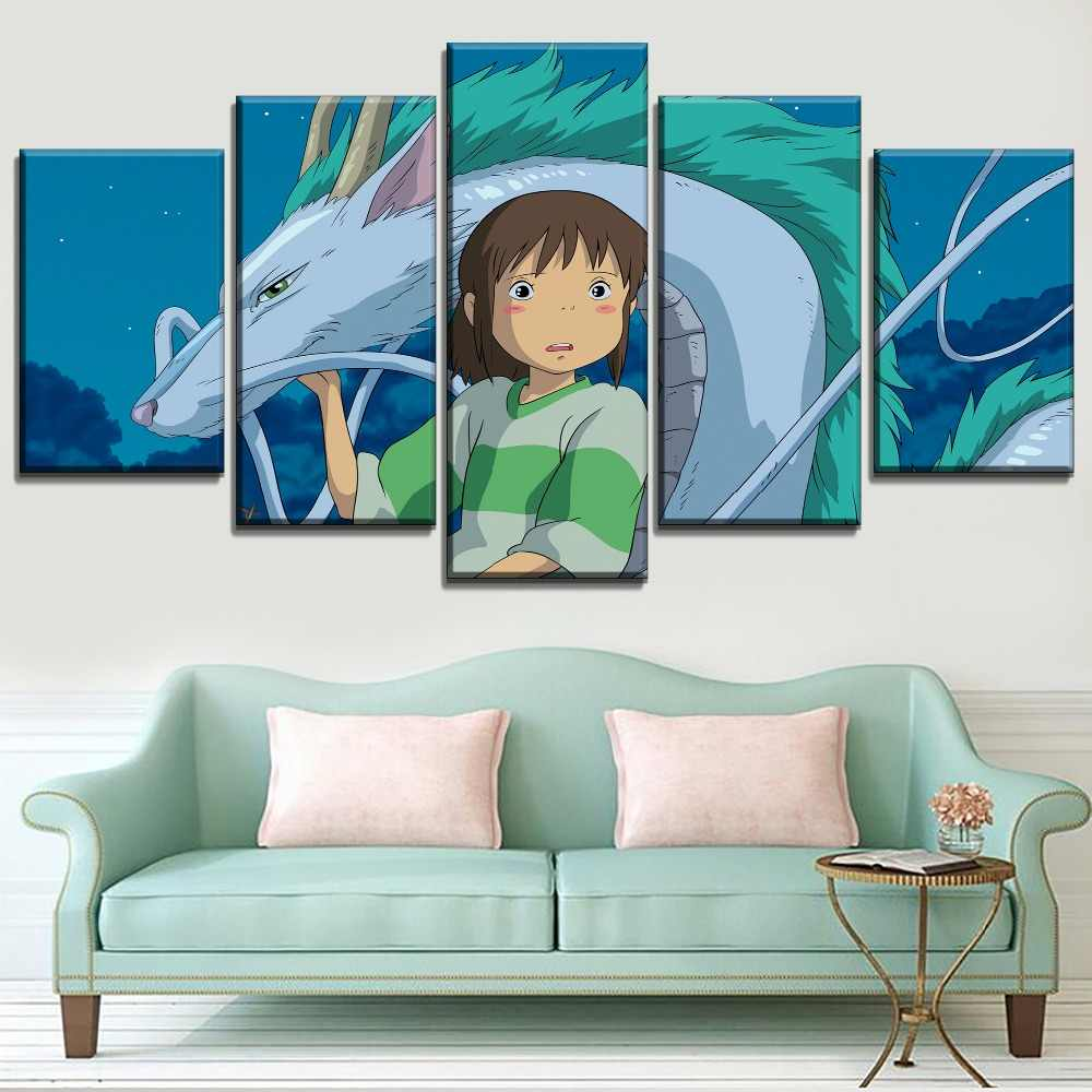 5 Piece Chihiro And Dragon Spirited Away Painting Home Decor Hd Print Canvas Picture For Kids Room Wall Art Cartoon Large Poster Painting Calligraphy Aliexpress