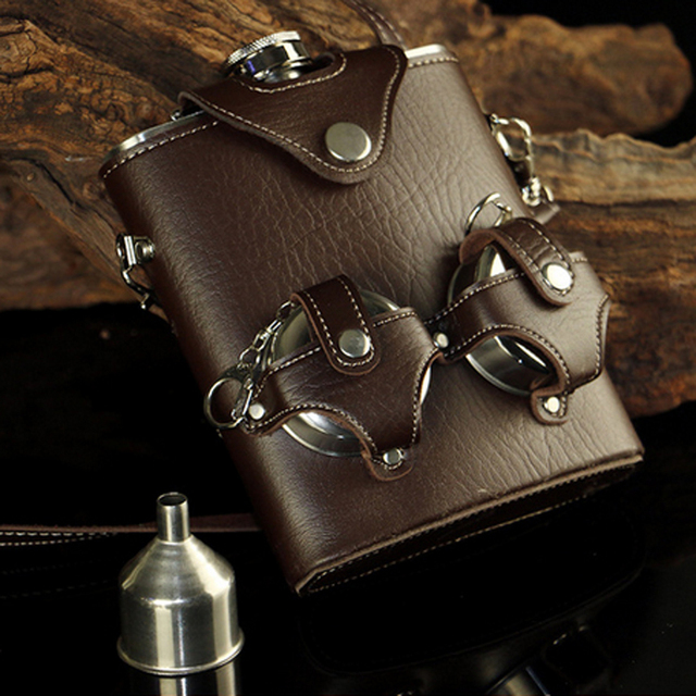 18oz Hip Flask Stainless Steel Imitation leather Cover With Two Folding Cups Whiskey Wine Flagon Drinkware Camping Flasks Set