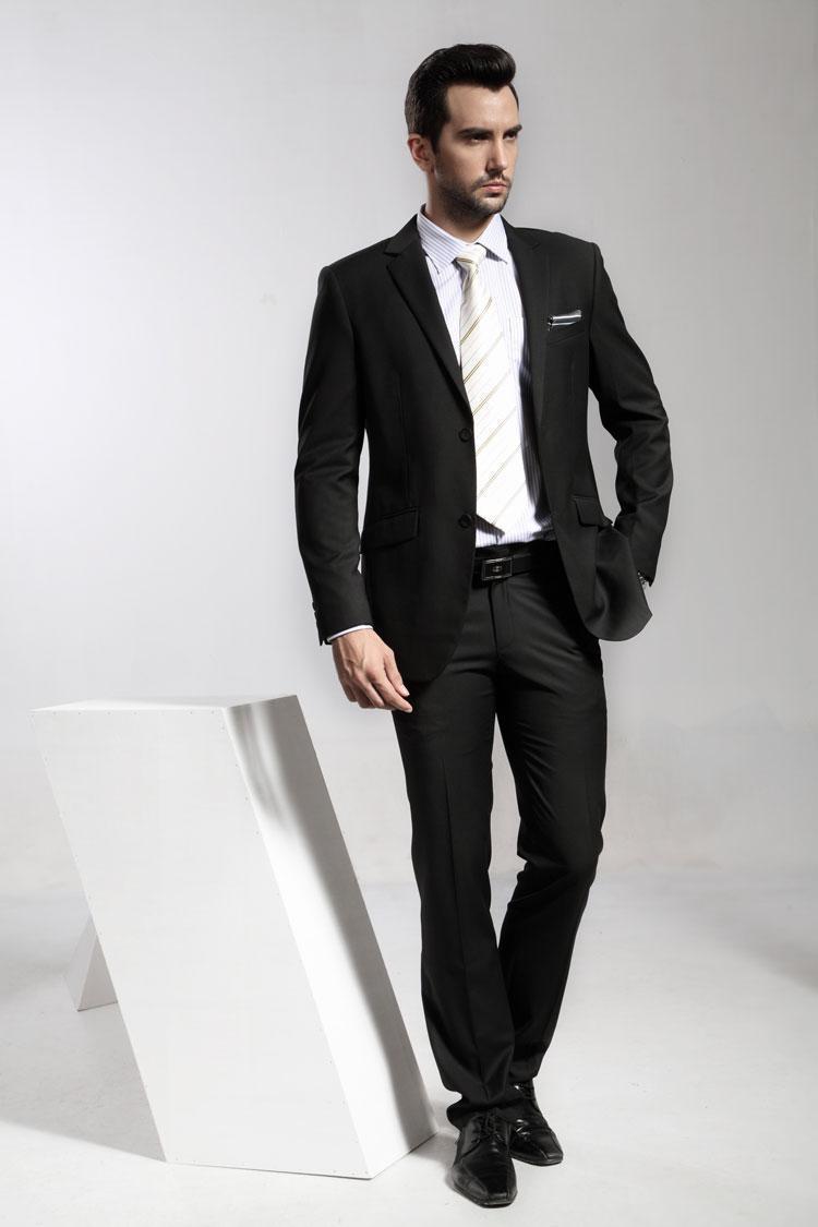 high quality black two buttons suit best man suit the gun
