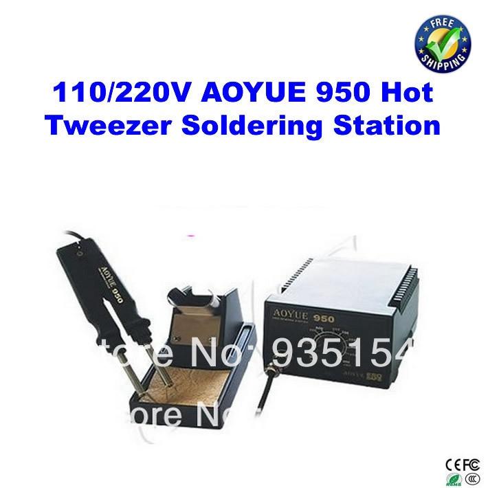 110/220V SMD Hot Tweezer Soldering Station Aoyue 950, solder station bga welding equipment aoyue bga soldering station original solder iron handle soldering station handle 220v 6 pin for aoyue 2702a