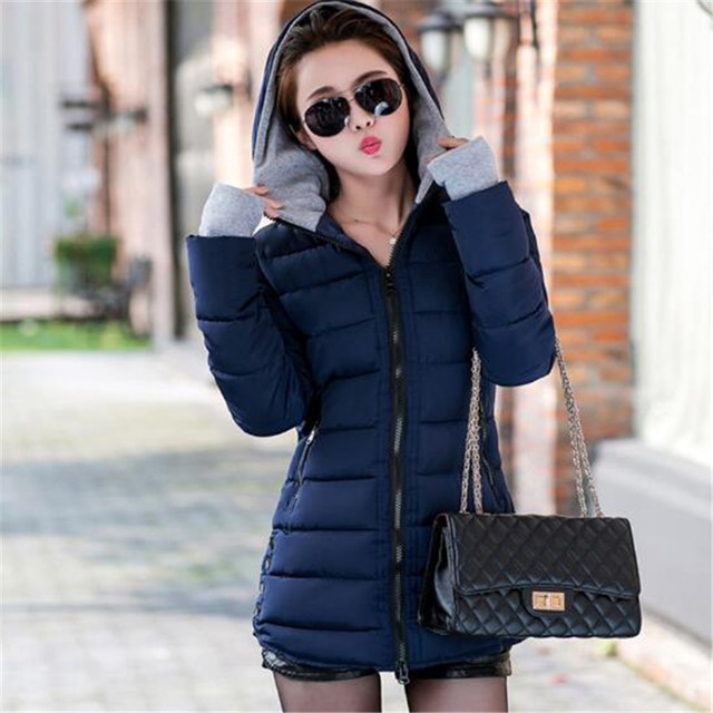 Women's winter hooded warm jacket new large size candy color cotton