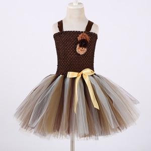 Image 3 - Платье пачка для девочек с коричневыми цветами, детский косплей, костюм с животными и львом, нарядное платье для девочек, детское платье на хэллоуин, день рождения