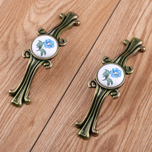 96 128 160mm retro rustico printing ceramic kitchen cabinet cupboard door handles antique bronze drawer tv cabinet pulls knobs