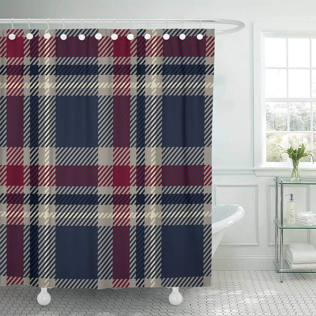 Us 17 06 36 Off Shower Curtain Hooks Blue Check Tartan Plaid Red Buffalo Chequered Vintage Bedclothes Breakfast Checker Decorative Bathroom In
