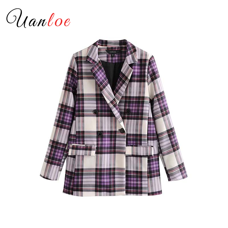 Vintage Plaid Double Breasted Blazer Pockets Long Sleeve Outerwear Office Lady Work Wear Basic Classic Tops