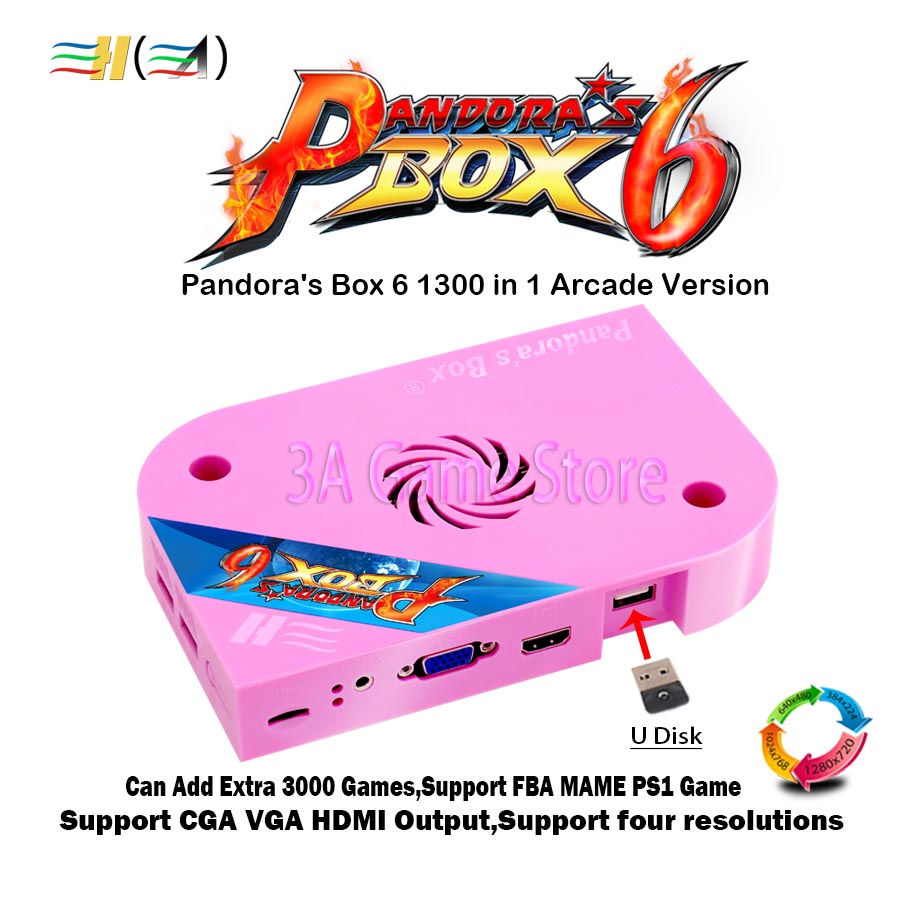 Pandora Box 6 1300 in 1 jamma arcade game pcb board CGA VGA HDMI Can add 3000 FBA MAME PS1 games 3d tekken mortal kombat pacman 1300 in 1 pandora box 6 jamma board hdmi vga cga for arcade machine can add extra 3000 games support fba mame ps1 game 3d game