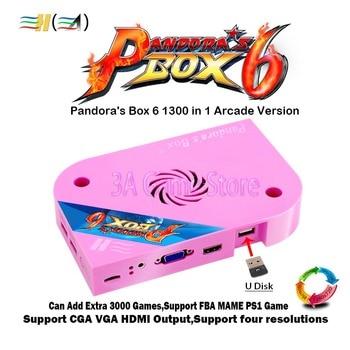 Pandora Box 6 1300 in 1 jamma arcade game pcb board CGA VGA HDMI Can add 3000 FBA MAME PS1 games 3d tekken mortal kombat pacman