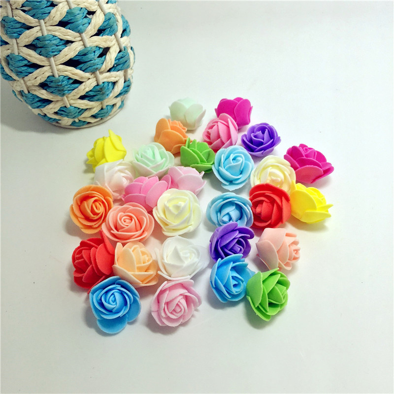 100 Pcs/lot 2cm Foam Beautiful roses Wedding Home Christmas Decoration Artificial Fowers Craft Handmade DIY 15 Colors 2015