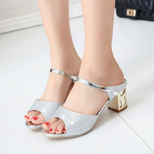 2fa04c13214cd Women Heels Sandals Fashion Women Shoes Silver Summer Ladies Sandals 2018  New Square Heel Sandals Peep