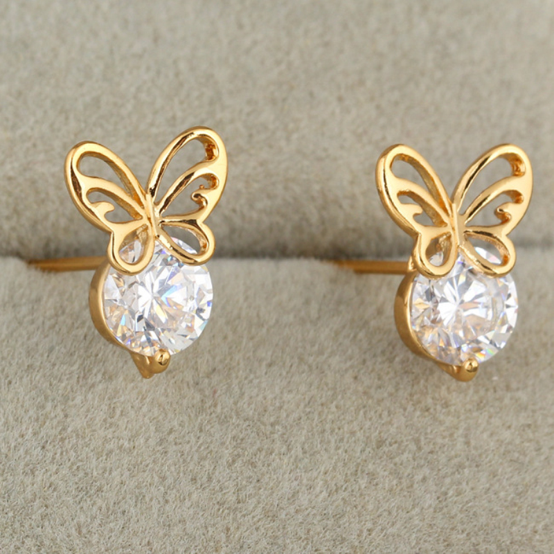 SmileSunshine Gold Color Animal Cute Butterfly CZ Small Stud Earrings For Women Girls Party Costume Jewelry Oorbellen Aretes