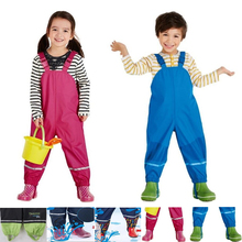 Spring and autumn new children girls export Boys PU leather poncho rain pants waterproof windproof breathable outdoor Trousers