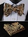 Pocket Square Classic Party Wedding BF4011DS Gold Floral Bowtie Men Silk Self Bow Tie handkerchief set