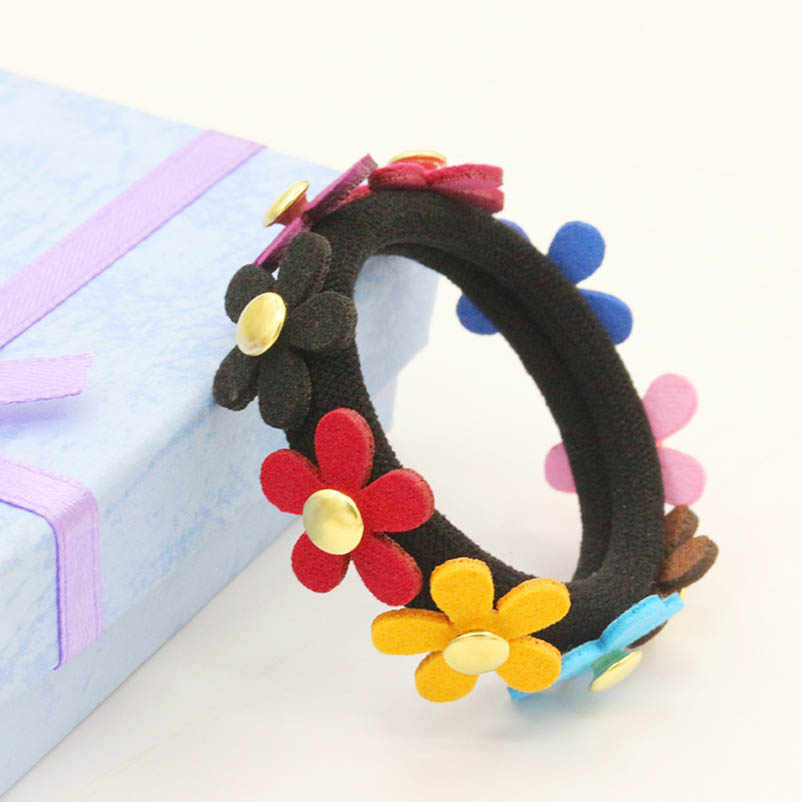 Pink Blue Black Yellow Five-leaf Flower Elastic Hair Bands Ponytail Holders Headwear Hair Accessories for Women & Children